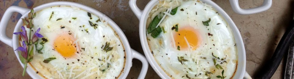 Baked Grits & Eggs with Spinach & Fresh Herbs