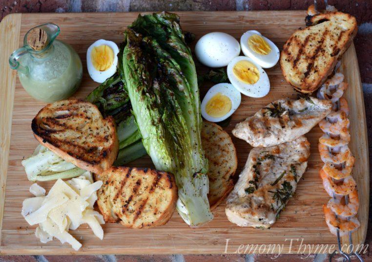 Grilled Caesar Salad with Herb Grilled Chicken & Shrimp