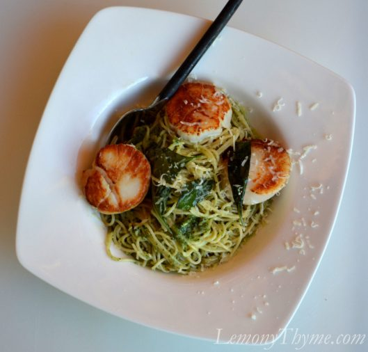 Pan Seared Sea Scallops with Basil Pesto Pasta