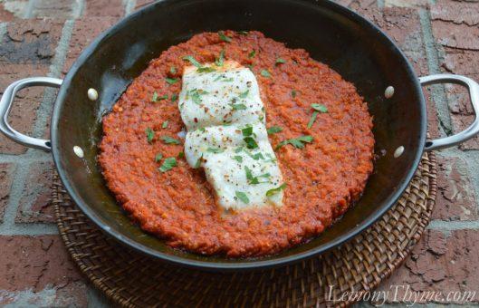Baked Halibut in Romesco Sauce