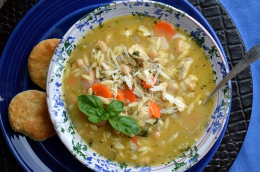 Basil Chicken Soup with Orzo
