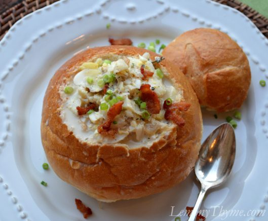 Fish Chowder served in a Bread Bowl