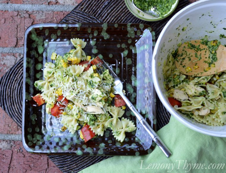 Bow Tie Chicken Salad with Watercress Pesto