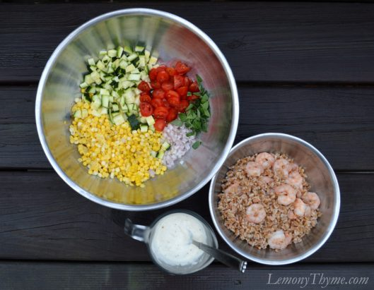 Shrimp & Summer Vegetable Farro Salad