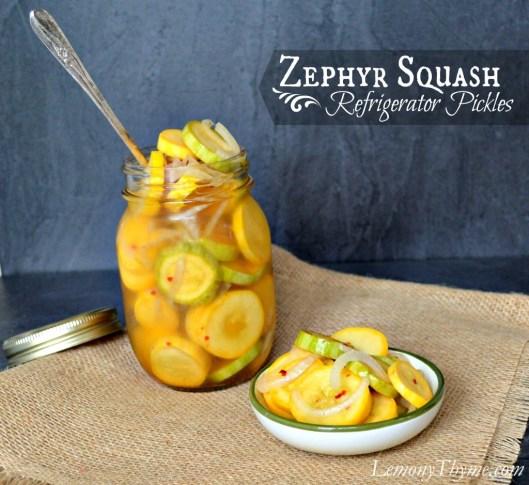 Zephyr Squash Refrigerator Pickles from Lemony Thyme