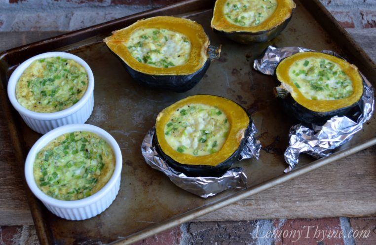 Curried Corn Pudding in Acorn Squash
