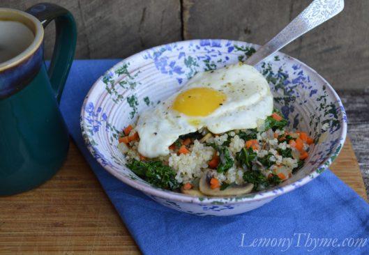 Mushroom & Kale Quinoa Breakfast Bowl