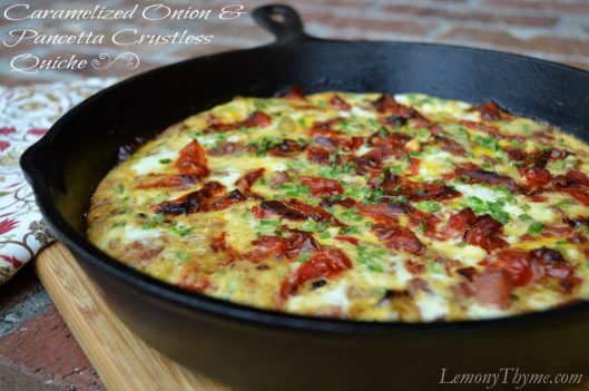 Caramelized Onion & Pancetta Crustless Quiche from Lemony Thyme
