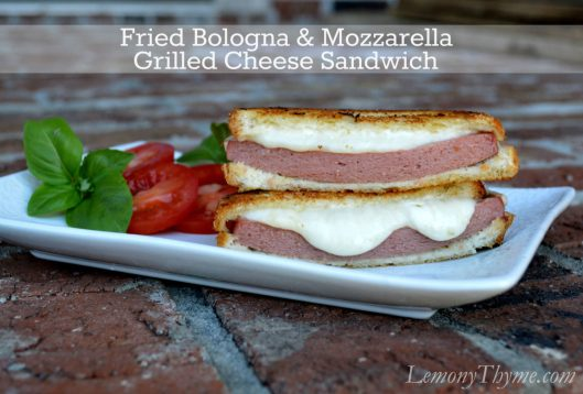 Fried Bologna & Mozzarella Grilled Cheese Sandwich from Lemony Thyme