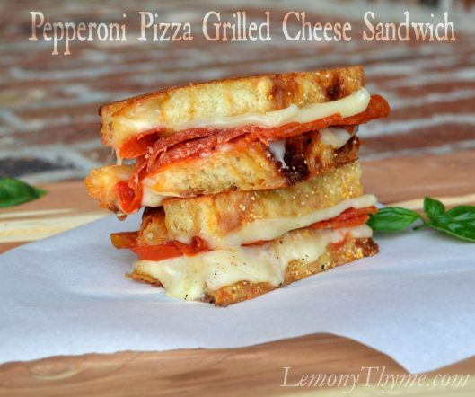 Pepperoni Pizza Grilled Cheese Sandwich from Lemony Thyme