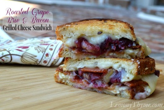 Roasted Grape, Brie & Bacon Grilled Cheese Sandwich from Lemony Thyme1