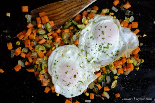 Roasted Veggie Oven Hash with Fried Eggs
