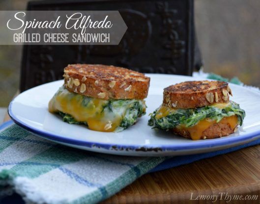 Spinach Alfredo Grilled Cheese Sandwich from Lemony Thyme