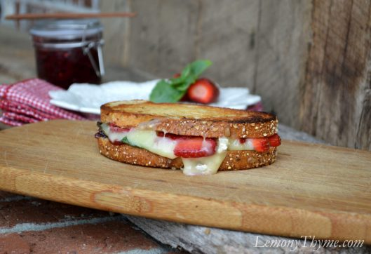 Strawberry, Basil & Brie Grilled Cheese Sandwich