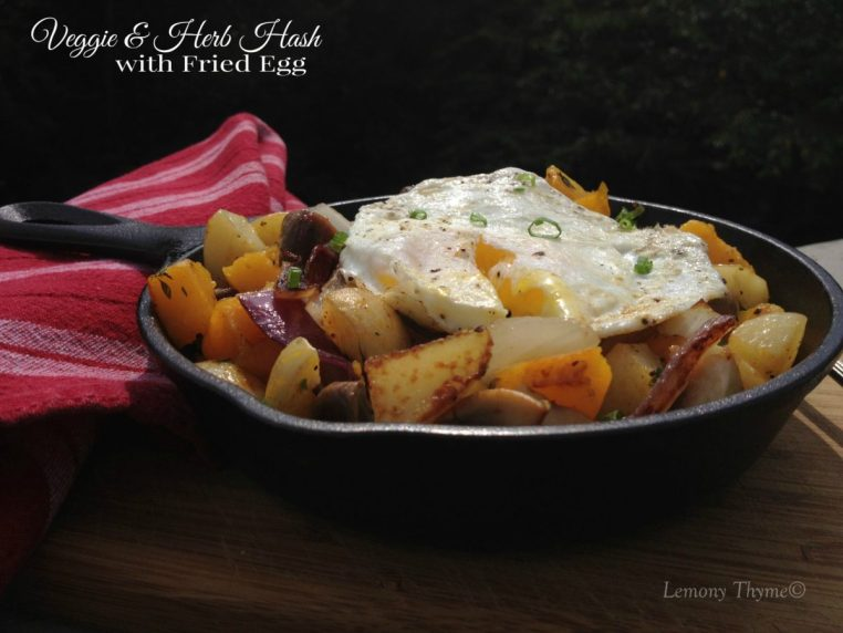 Skillet Veggie & Herb Hash with Fried Egg