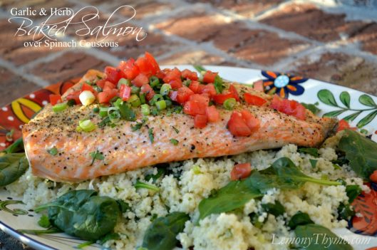 Garlic & Herb Baked Salmon over Spinach Couscous from Lemony Thyme