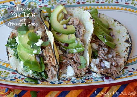 Shredded Pork Tacos with Chimichurri Sauce from Lemony Thyme