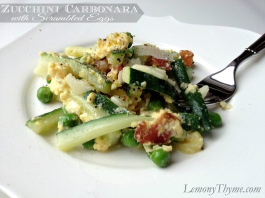 Zucchini Carbonara with Scrambled Eggs from Lemony Thyme