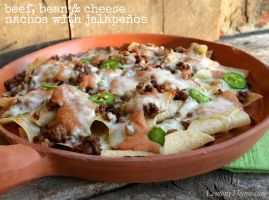 Beef Bean & Cheese Nachos with Jalapenos