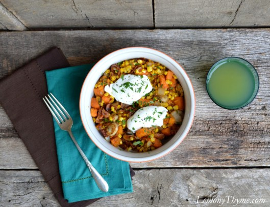 Sweet Potato & Bacon Hash with Poached Eggs1