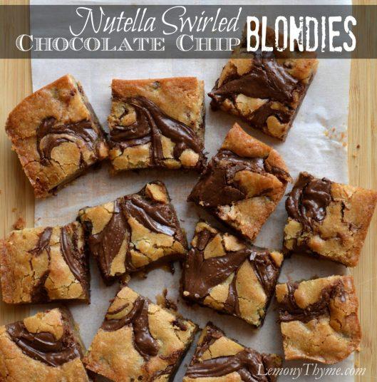 Nutella Swirled Chocolate Chip Blondies from Lemony Thyme
