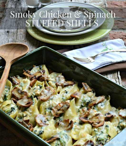 Smoky Chicken & Spinach Stuffed Shells | LemonyThyme.com | #comfortfood
