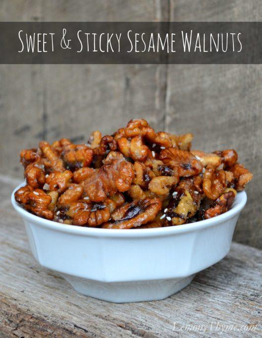 Sweet & Sticky Sesame Walnuts | LemonyThyme.com