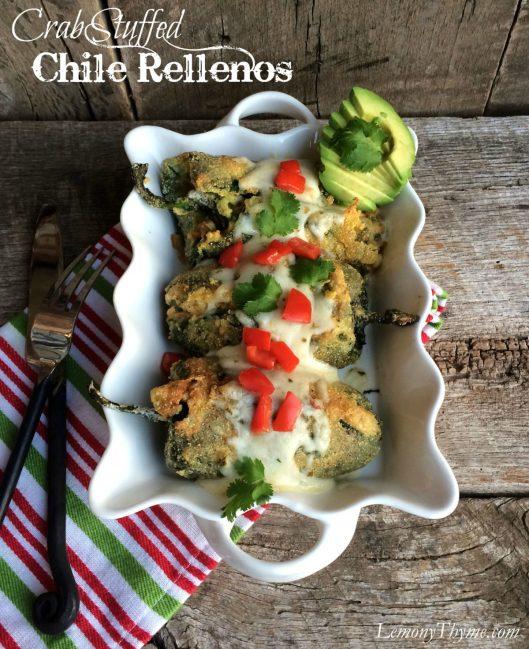 Crab Stuffed Chile Rellenos | LemonyThyme.com