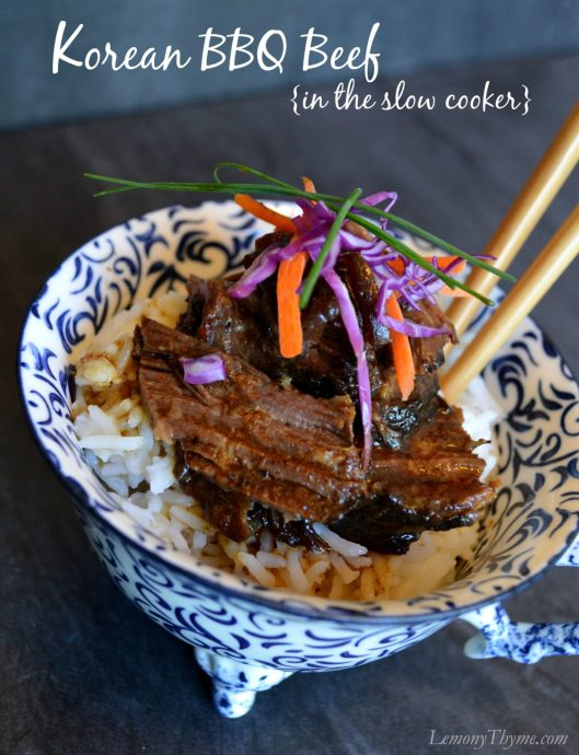 Korean BBQ Beef in the Slow Cooker | LemonyThyme.com | #slowcookerrecipe