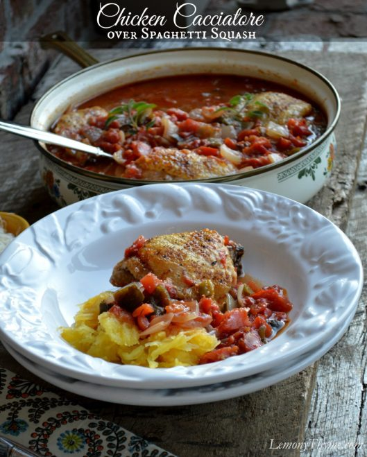 Chicken Cacciatore over Spaghetti Squash