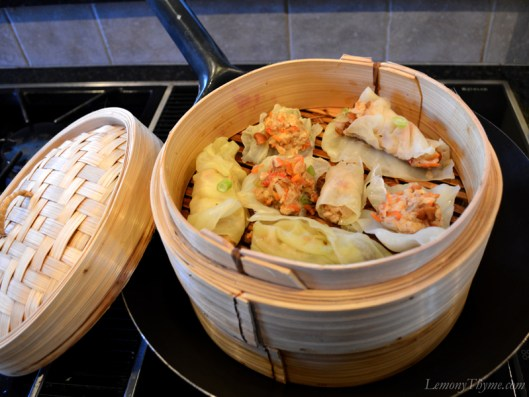 Mu Shu Chicken Cabbage Rolls Steamer Basket