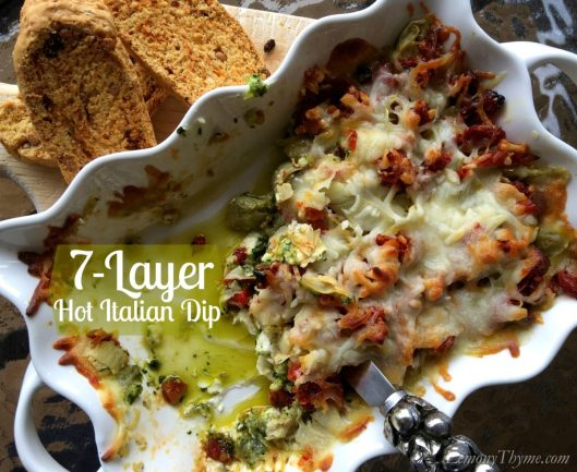 7 Layer Hot Italian Dip | LemonyThyme.com | #gameday