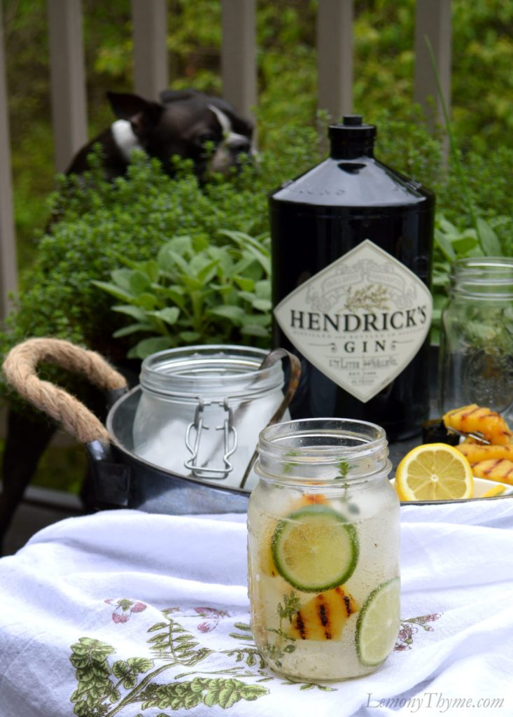 Gin & Tonic with Lemony Thyme & Grilled Pineapple