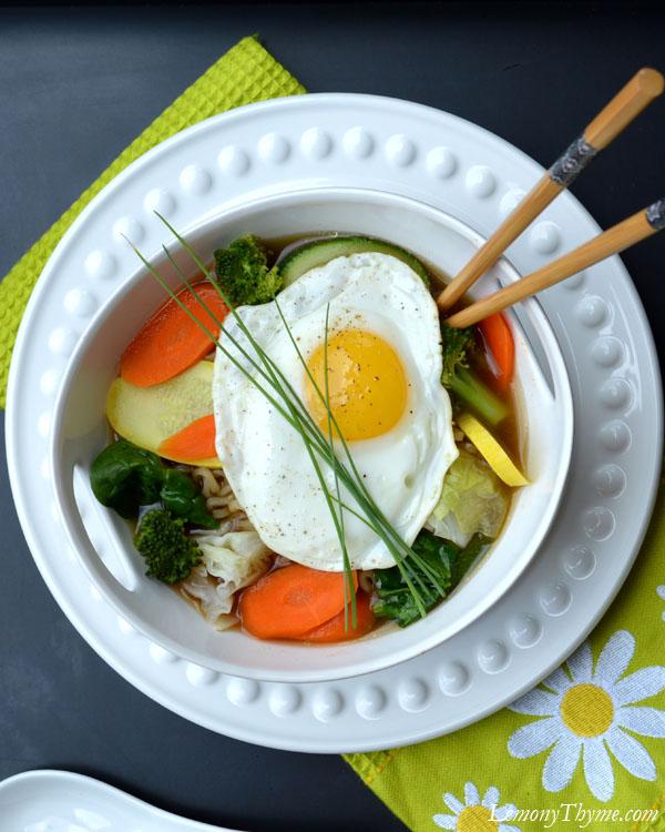 Steamed Veggie Ramen Broth Bowl with Fried Egg3