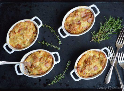 Rosemary Ham & Swiss Savory Bread Pudding3