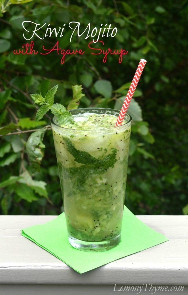 Kiwi Mojito with Agave Syrup   LemonyThyme.com