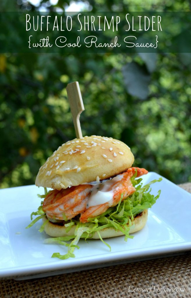 Buffalo Shrimp Slider with Cool Ranch Sauce | LemonyThyme.com