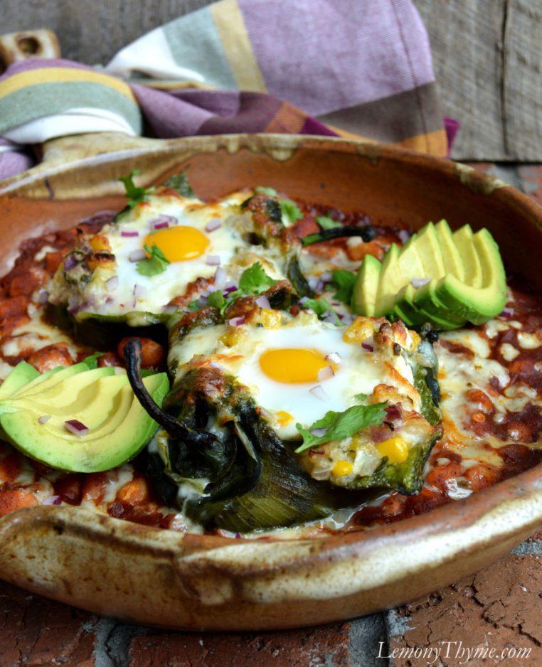Savory Egg Stuffed Poblano Peppers