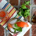Overhead shot of Red Grapefruit Mojito with Vanilla Simple Syrup, fresh mint and grapefruit juice.