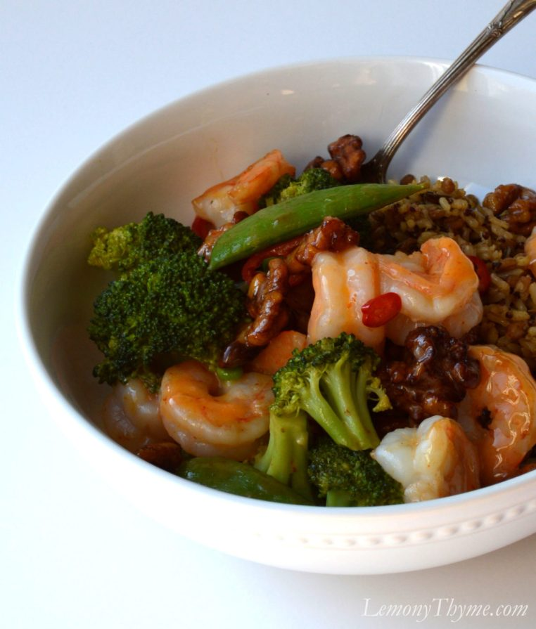 Honey Walnut Shrimp Power Bowl from LemonyThyme.com