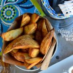 Crispy Baked Potato Wedges | LemonyThyme.com | #PubFries #GameDayRecipes