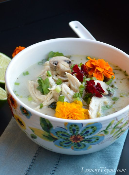 Thai Coconut Chicken Soup | LemonyThyme.com | #TomKhaGai
