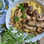 This Beef Stroganoff recipe could be made with any leftover steak or nice tender beef strips and your favorite kind of mushrooms.