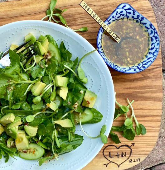 Avocado & cucumber salad with homemade quick and easy Asian vinaigrette
