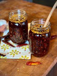 Two jars of Homemade Chili Crisp Oil