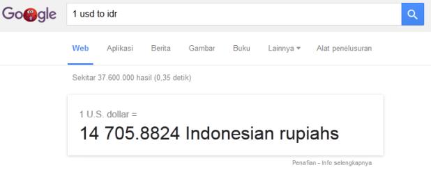 Menghitung nilai tukar mata uang asing dengan google