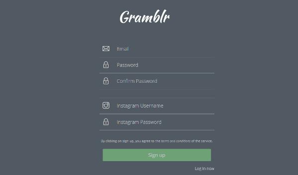 Registrasi akun Gramblr