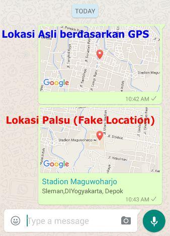 Perbedaan antara lokasi Asli GPS dan Fake Location