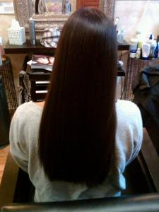 Back view: after keratin hair treatment