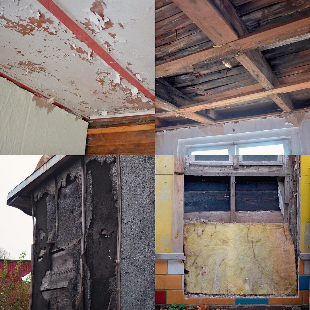 Worst damage points of the garden house. Much work ahead in the spring!